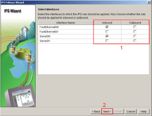 SDM IPS Wizard Interfaces
