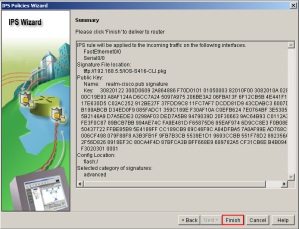 SDM IPS Wizard Summary