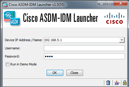 The ASDM Login Screen