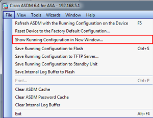 Show Running-Config in ASDM