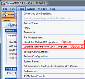The ASDM Tools File Menu