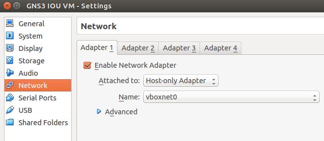 VirtualBox-GNS3 1.1 IOU Network Settings