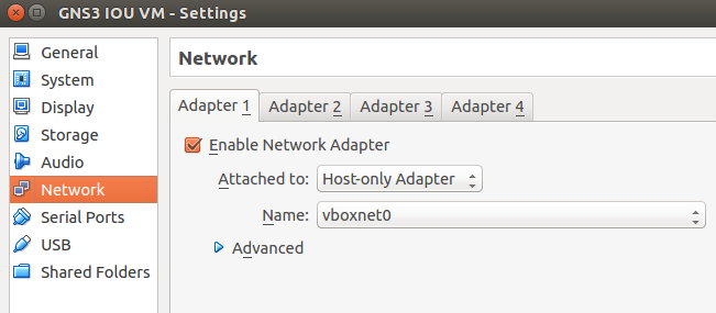 VirtualBox-GNS3 1.1 IOU Network Settings